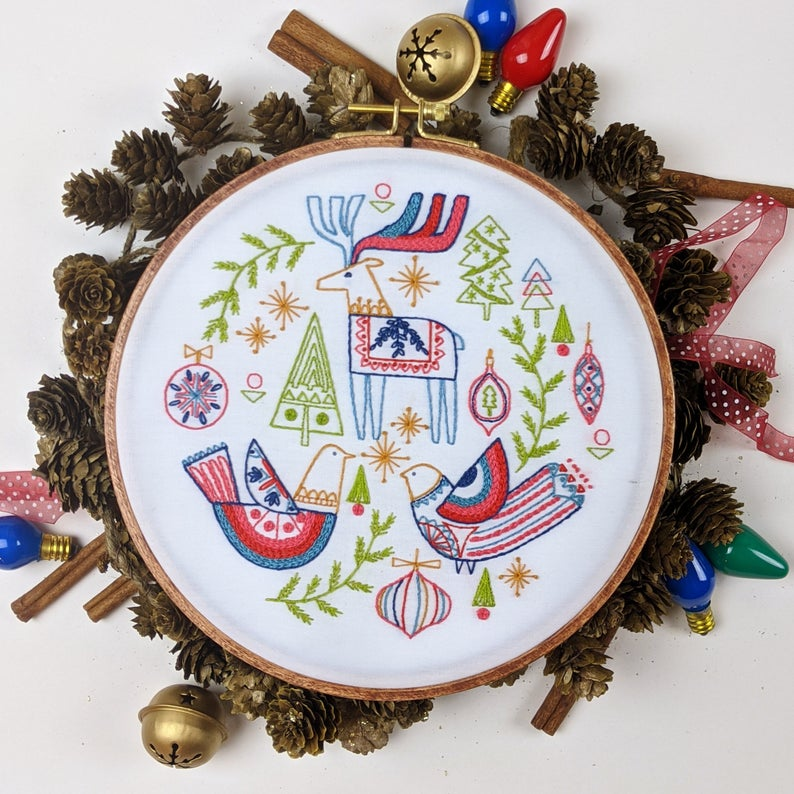 folk christmas hand embroidery pattern