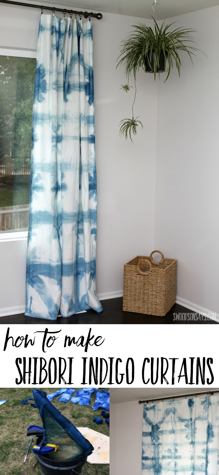 See how to make diy shibori curtains with this picture tutorial! Indigo dye shibori is a beautiful cobination and these diy curtains look organic and airy.