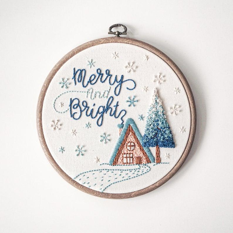 christmas hand embroidery kit
