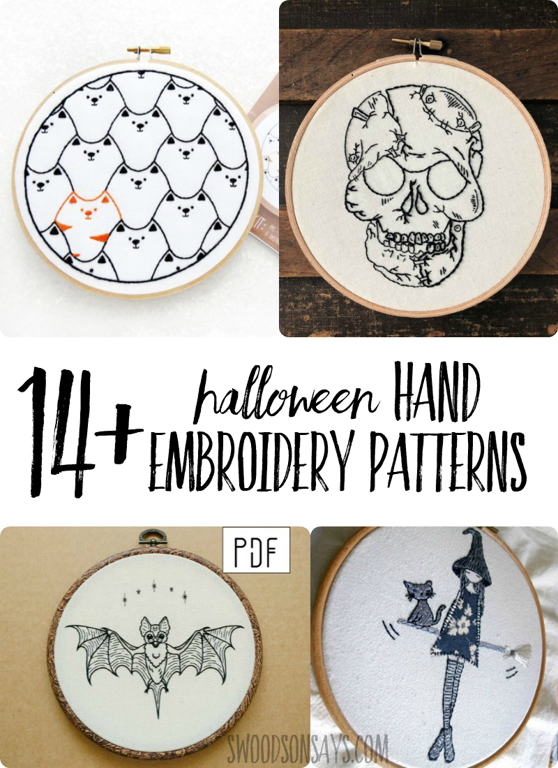 Check out these modern Halloween hand embroidery designs! Fun, modern patterns to stitch and hang on your wall. Includes some free Halloween hand embroidery patterns along with some from indie designers. #embroidery #halloween