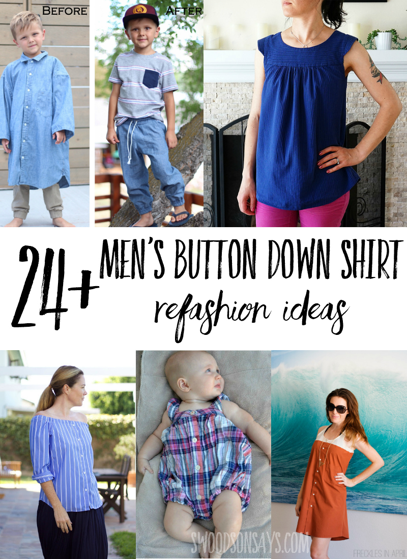 See the most creative ways to refashion men's dress shirts into clothes for women and clothes for kids! Fun upcycle sewing tutorials to makeover a button down shirt and give it new life. #sewing #refashion #upcycle