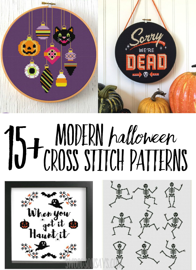 Stitch up festive needlework with one of these modern Halloween cross stitch patterns! These fresh, fun cross stitch designs will look great on your wall or couch; lots of fun Halloween motifs. #halloween #crossstitch #needlework