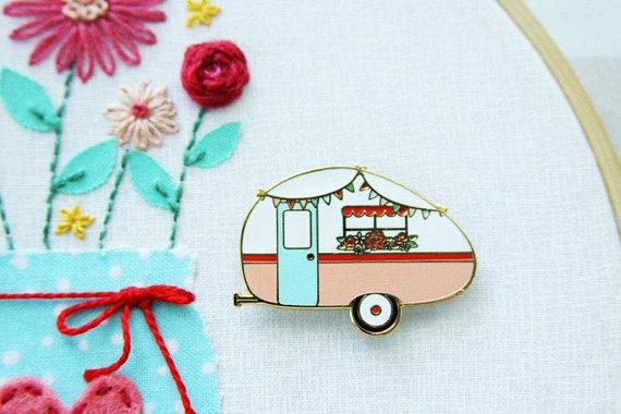 vintage camper embroidery needle minder