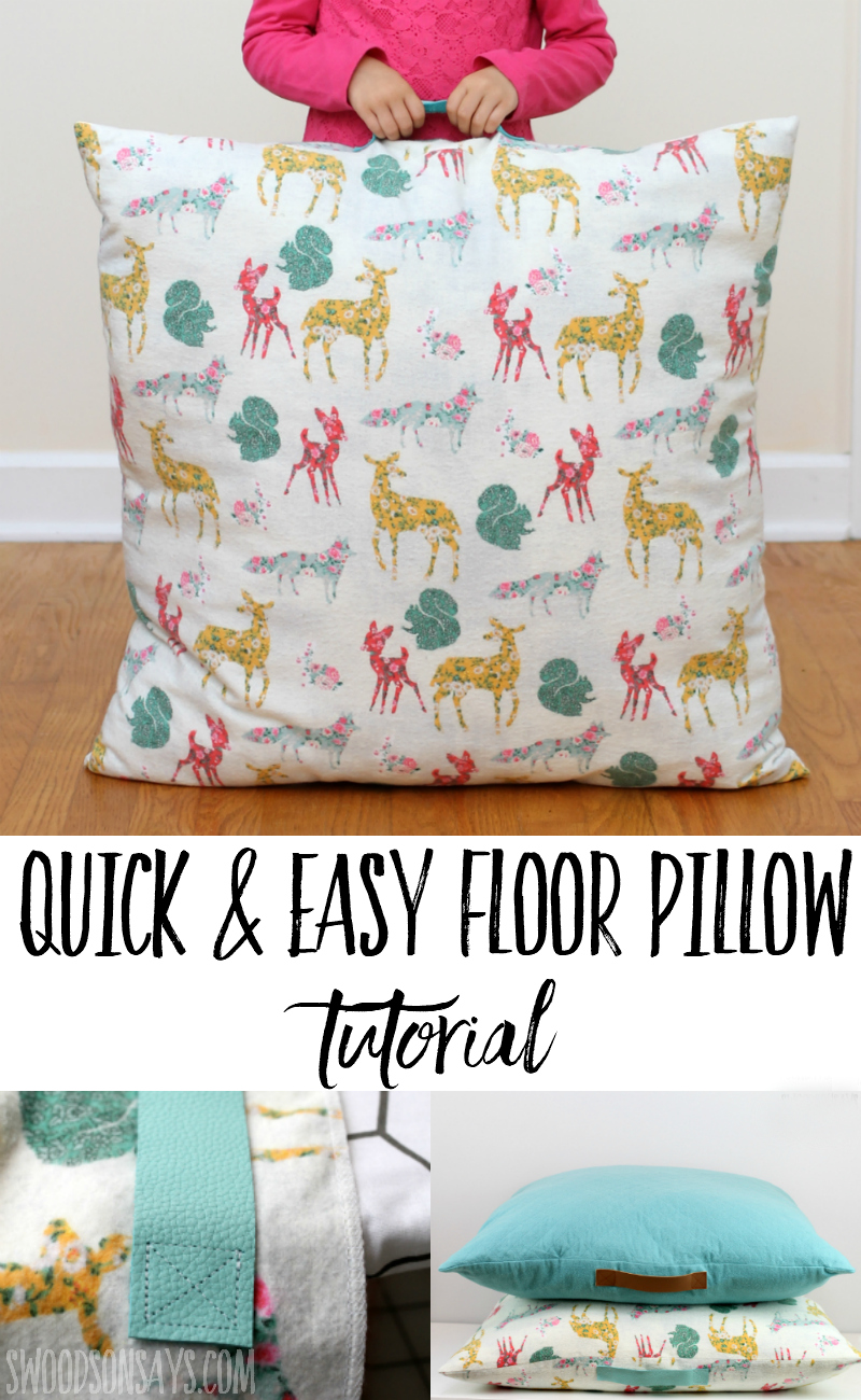Sew up some cozy, flannel floor pillows for fall with this easy sewing tutorial! Leather handles make them easy to move around; these are perfect for laying on while you read books or play board games. A DIY floor cushion makes it easy to complement your decor or let your kids pick out their favorite fabric! Click through to read this sponsored post and get links for these beautiful fabrics from JOANN. #sewing #ad #fall