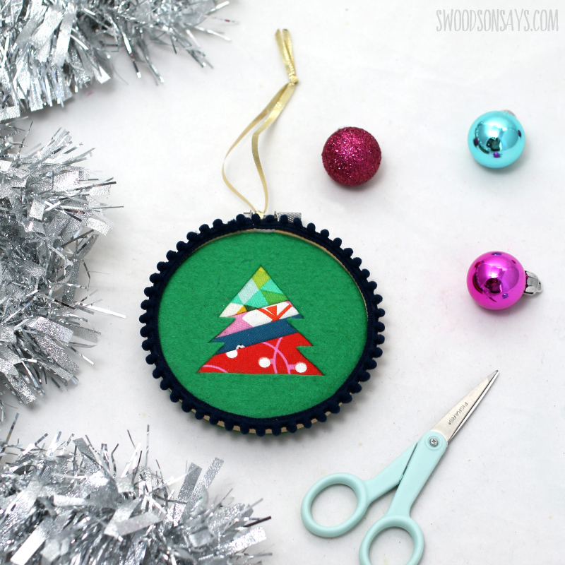 patchwork embroidery hoop ornament
