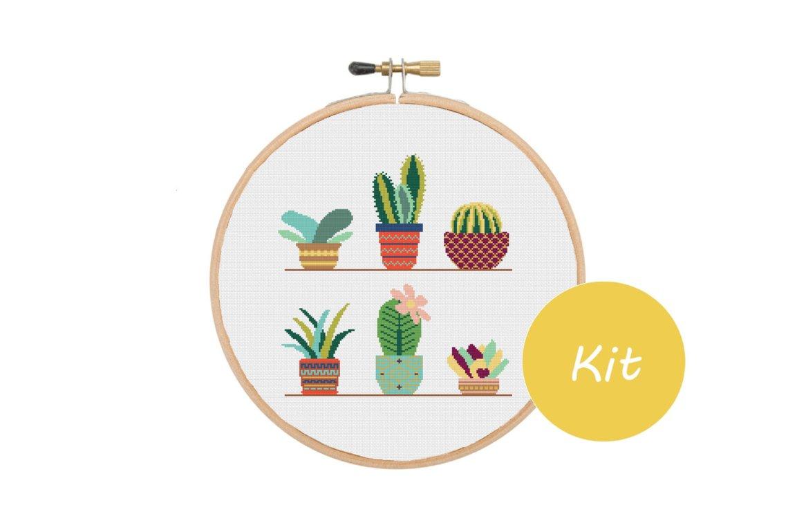 cactus cross stitch kit