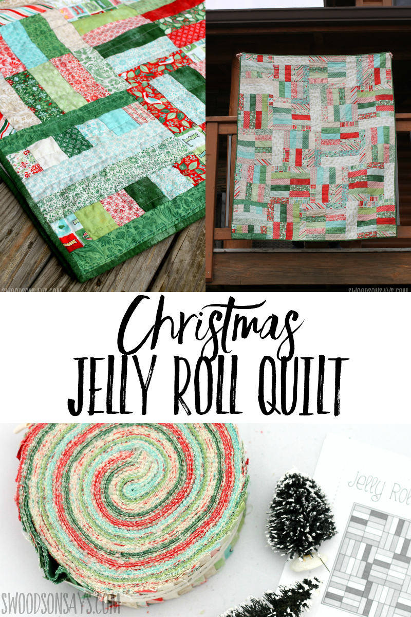 Check out this improvised version of a Christmas jelly roll quilt pattern! Simple Christmas quilt to sew, with thoughts on using this free pattern from Fat Quarter Shop.