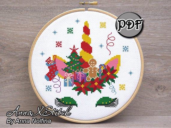 christmas unicorn cross stitch pattern
