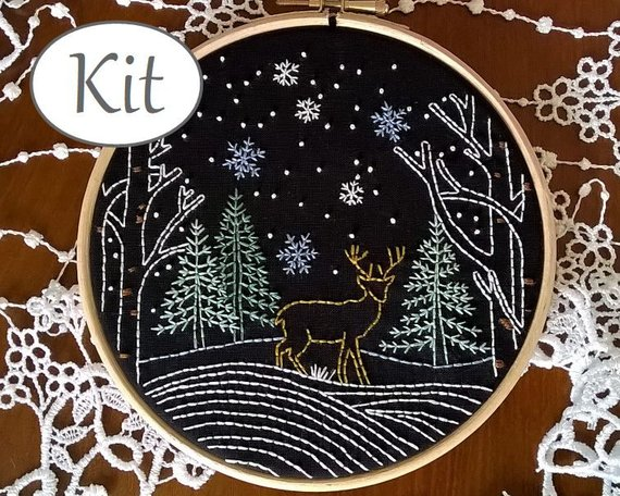 deer winter snow hand embroidery pattern kit