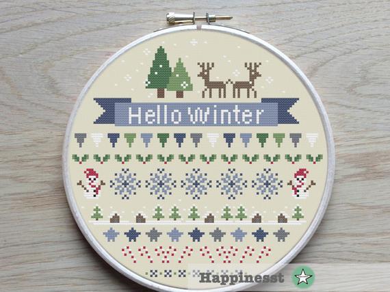 hello winter cross stitch pattern