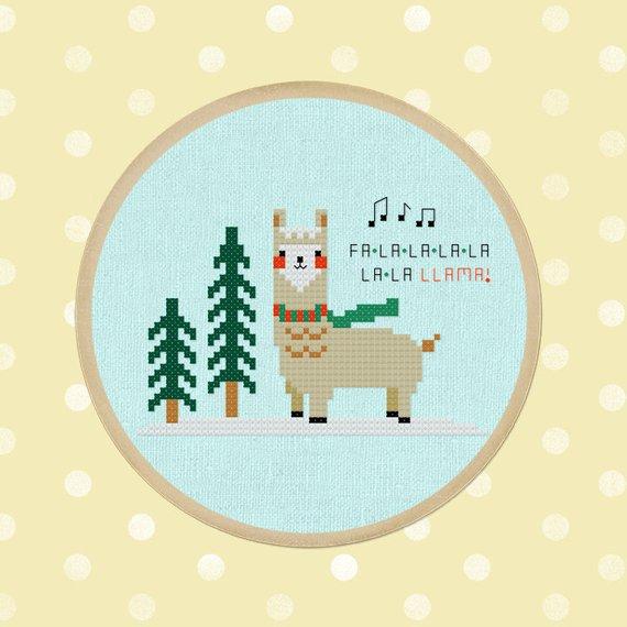 llama christmas cross stitch design