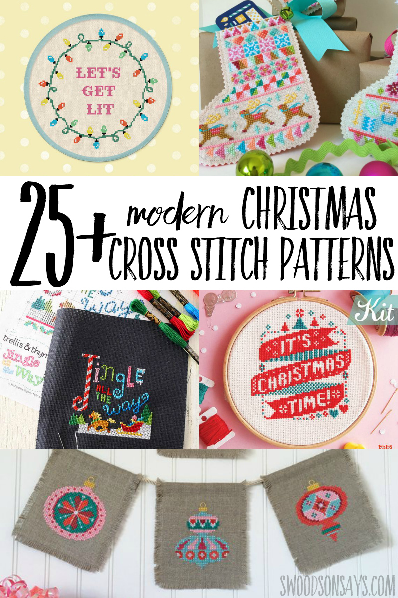 Make it handmade holiday this year and cross stitch a modern Christmas pattern! This curated list has unique Christmas cross stitch patterns to sew with creative projects. #crossstitch #sewing