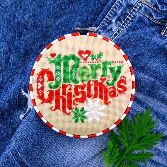 modern merry christmas cross stitch design