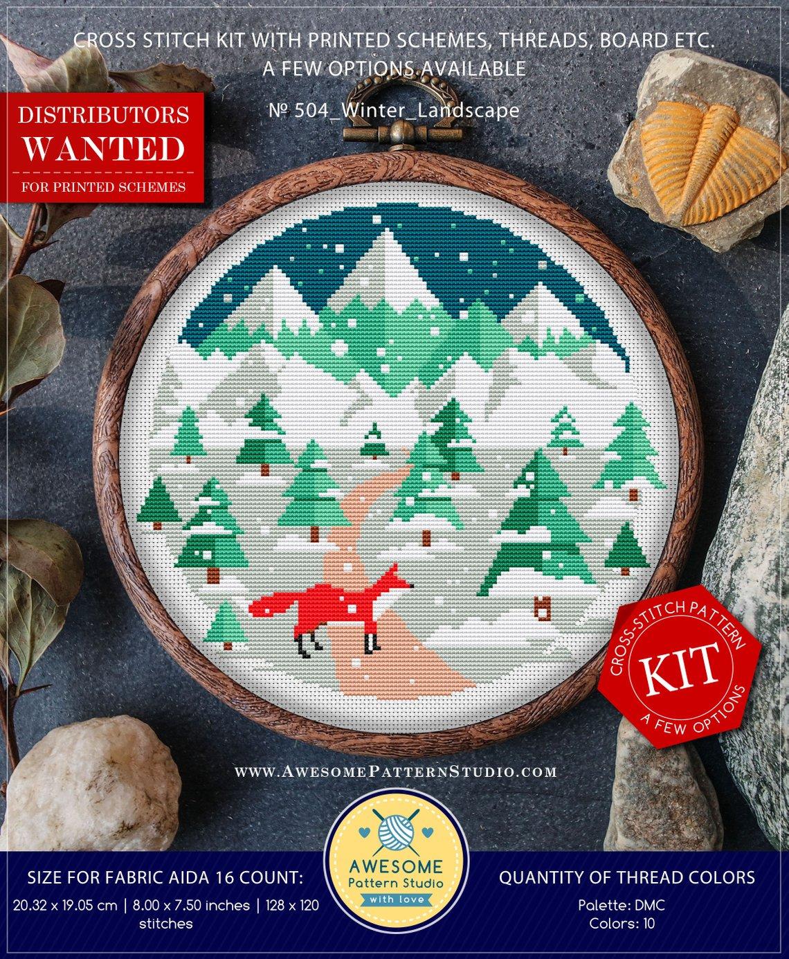 snowy fox cross stitch kit