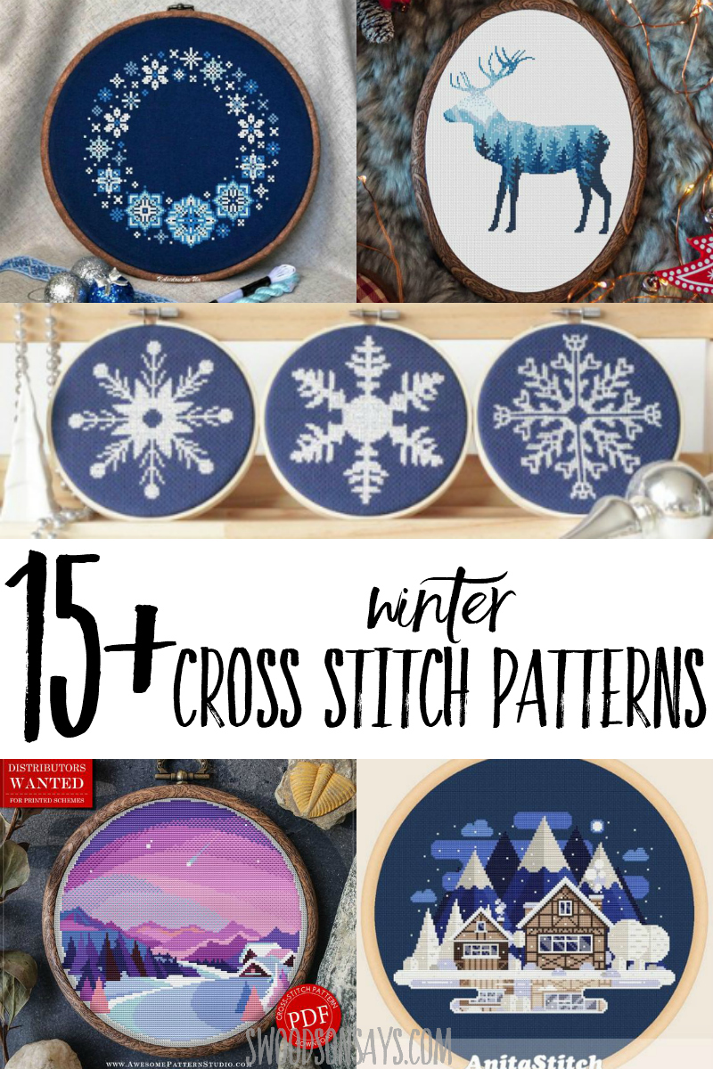 If you've always wanted to try cross stitch, this winter is the season! Curl up with a modern pattern to titch; choose from this curated list of winter cross stitch patterns. #crossstitch #sewing #inter #crafts