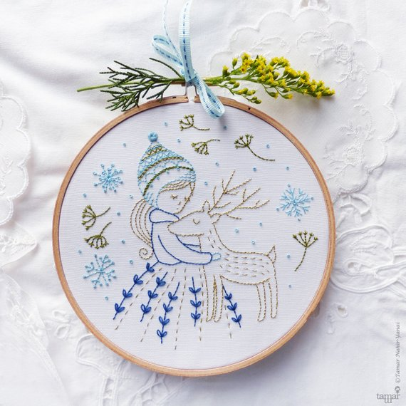 winter girl hand embroidery pattern
