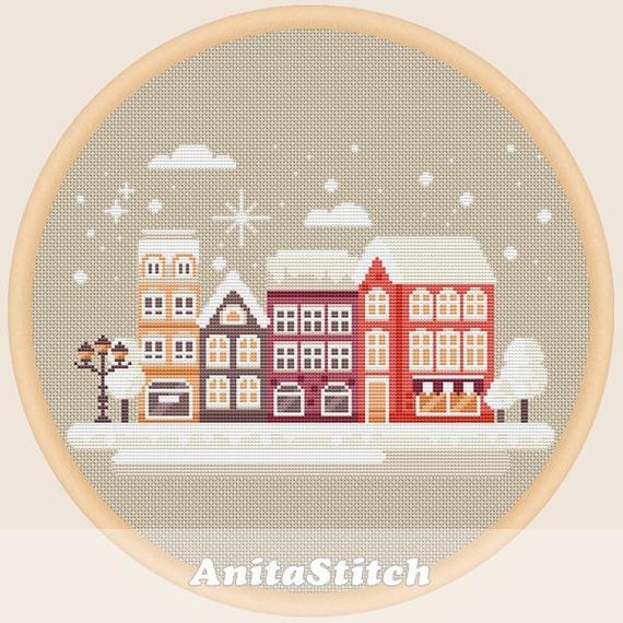 winter town cross stitch pattern