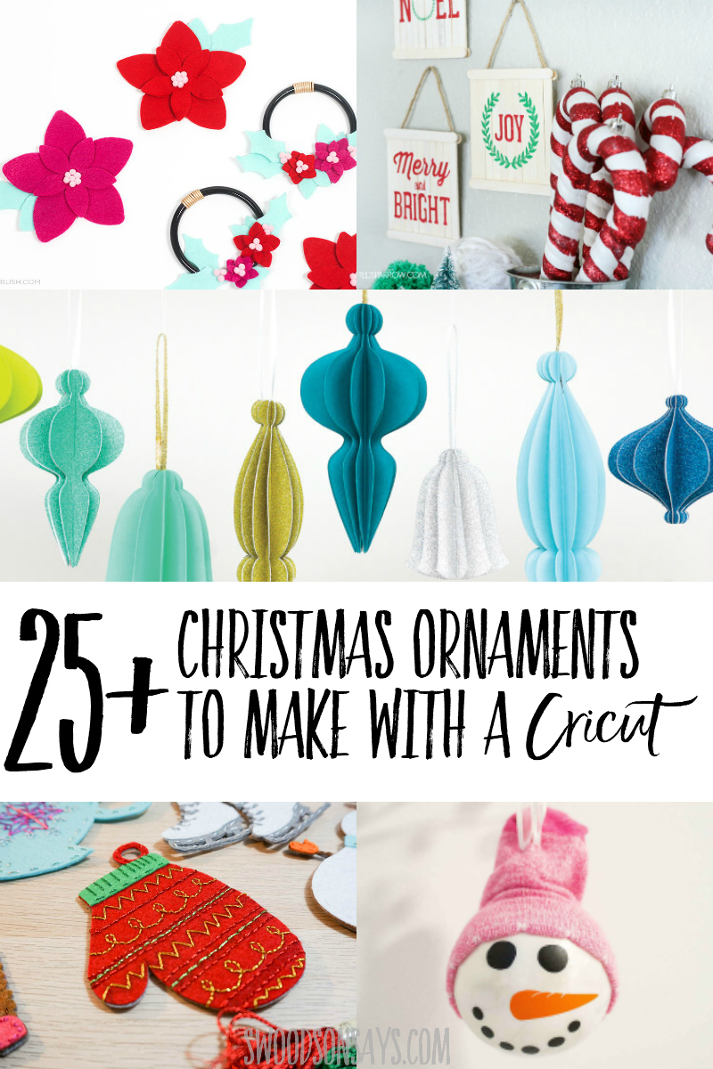 There are so many fun options for Christmas ornaments to make with your Cricut! Over 25 different styles and SVG files to create creative Cricut Christmas decorations. #cricut #christmas #ornaments #svg