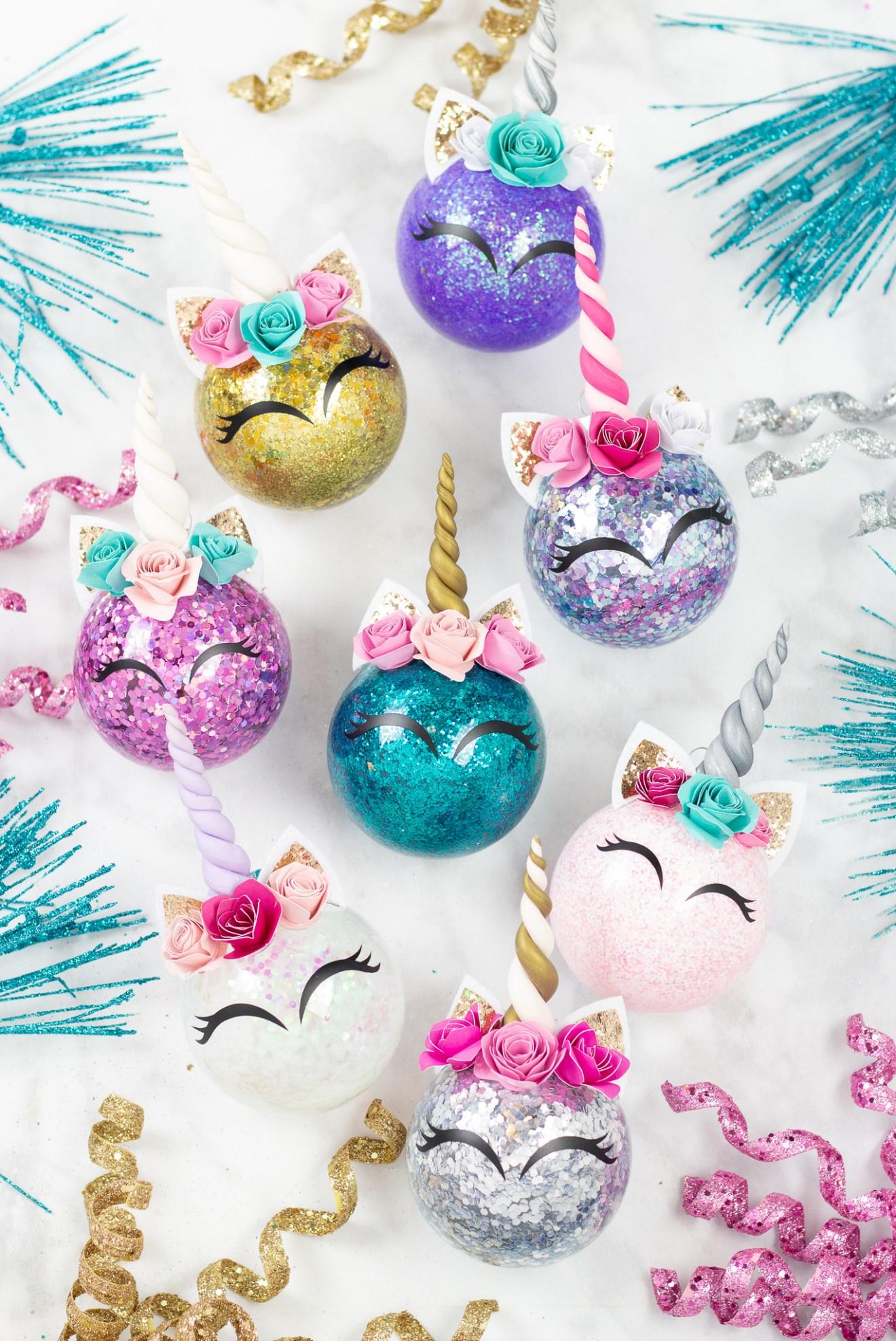 cricut unicorn ornament vinyl clay glitter