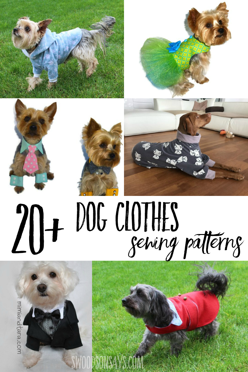 There are so many fun dog clothing sewing patterns to choose from! Check out this list of dog jackets to sew, dresses, tuxedos, and the cutest dog pajama sewing patterns. #sewing #dogs