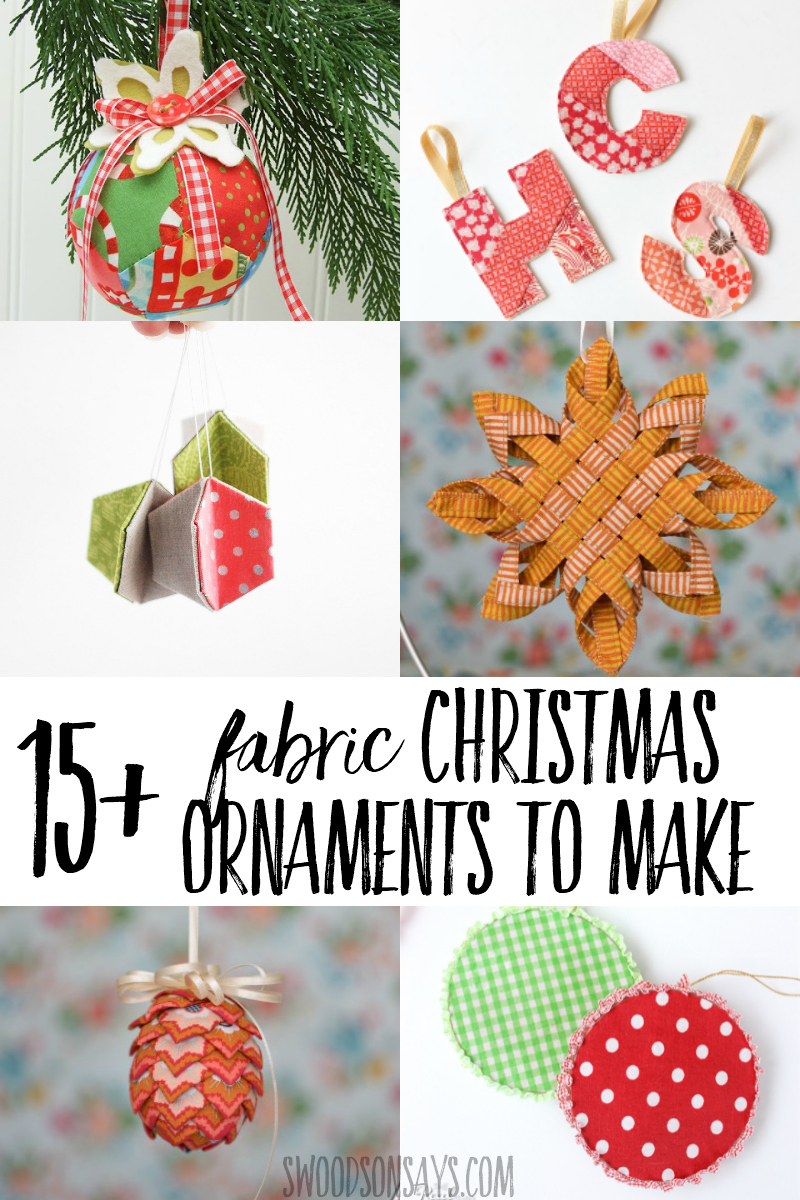 Use up your fabric scraps and make festive Christmas ornaments! This roundup of fabric Christmas ornament tutorials will have you planning craft nights, there are so many fun DIY ornament tutorials to choose from. #christmas #crafts #fabric