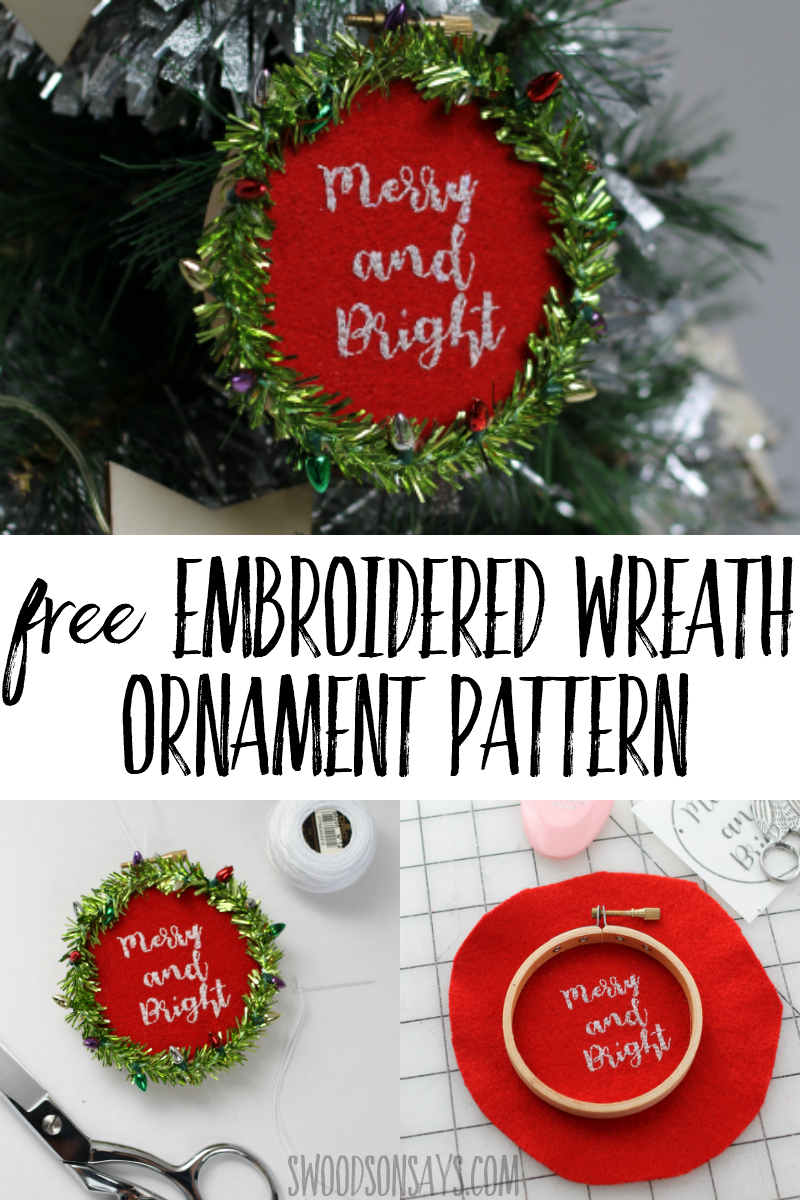 Use this free hand embroidery pattern to make a cheery Christmas ornament! This Christmas ornament tutorial is easy for beginners and great for gift giving. #christmas #crafts #embroidery