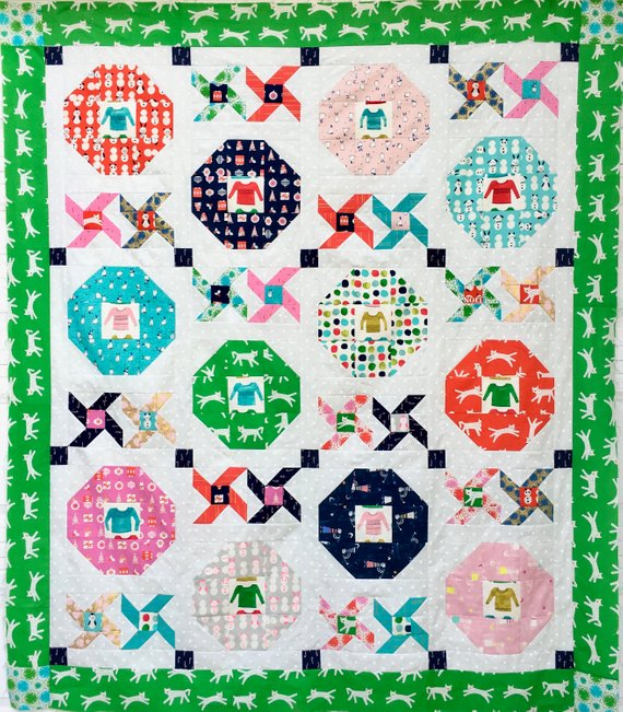 geometric christmas quilt pattern