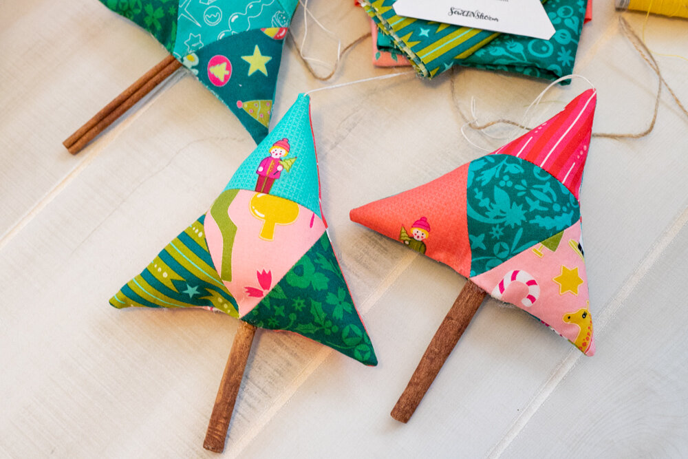 geometric triangle christmas tree ornament cinnamon stick