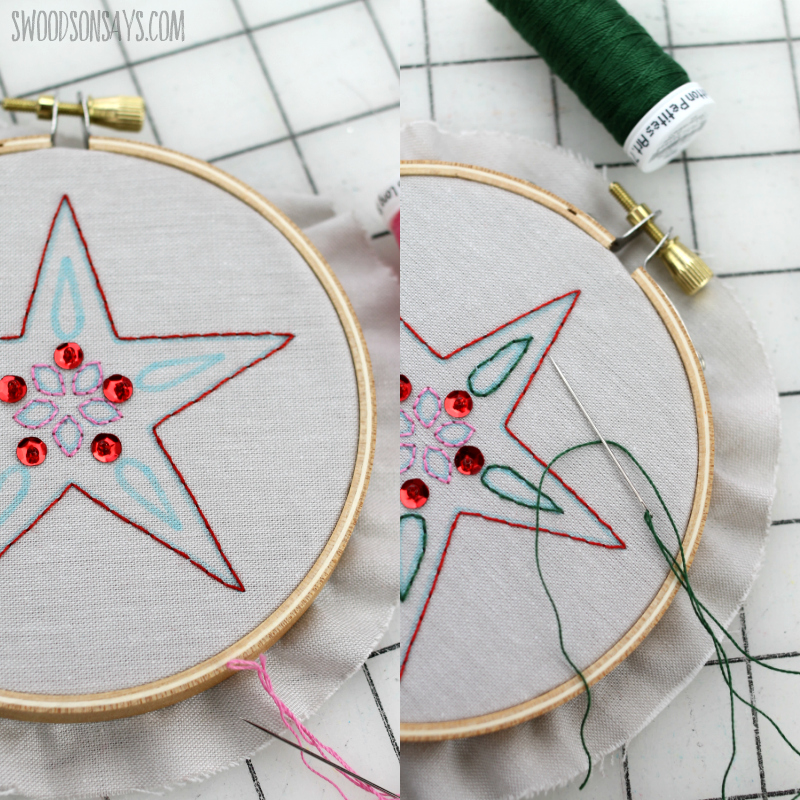 hand embroidery project with cricut