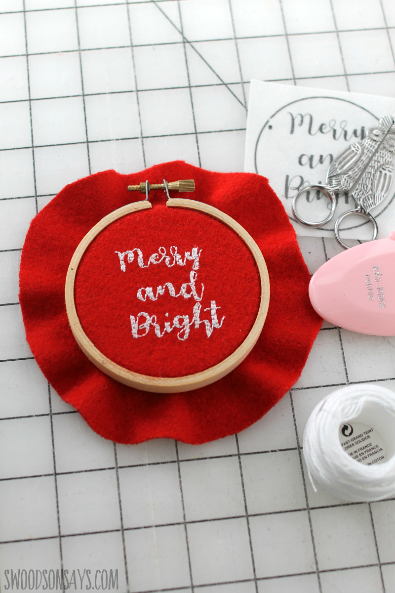 transferring embroidery pattern to felt