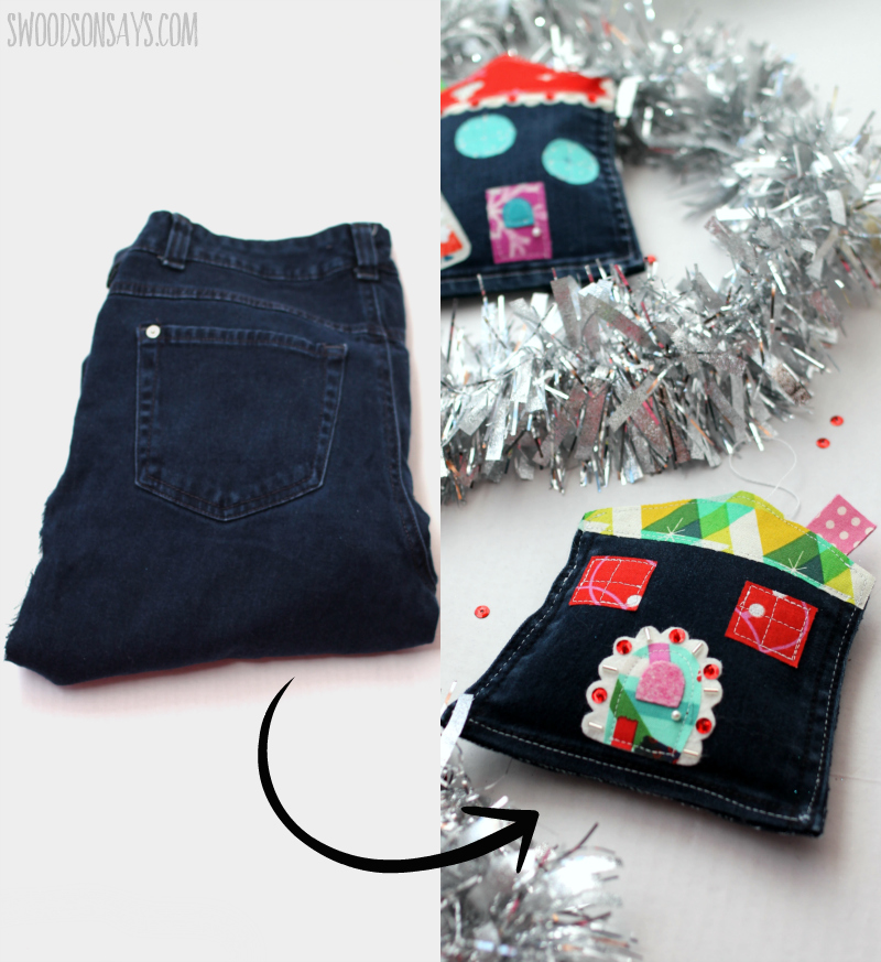 upcycling jeans into christmas ornaments