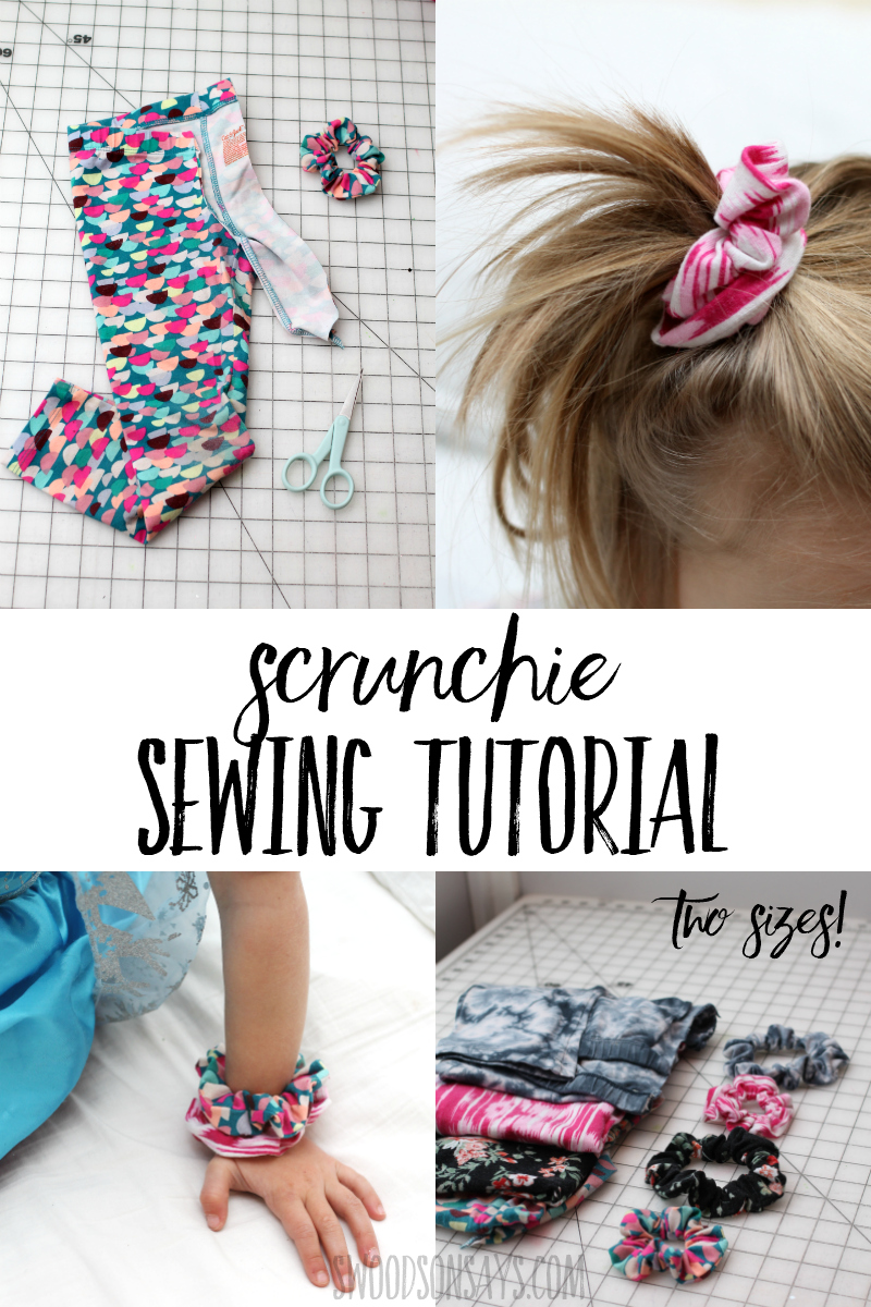 See how easy it is to sew a scrunchie with this beginner sewing tutorial! It shows you how to upcycle leggings into scrunchies but any knit fabric will do, two different size measurement included for both kids and adults. #sewing #scrunchie #crafts