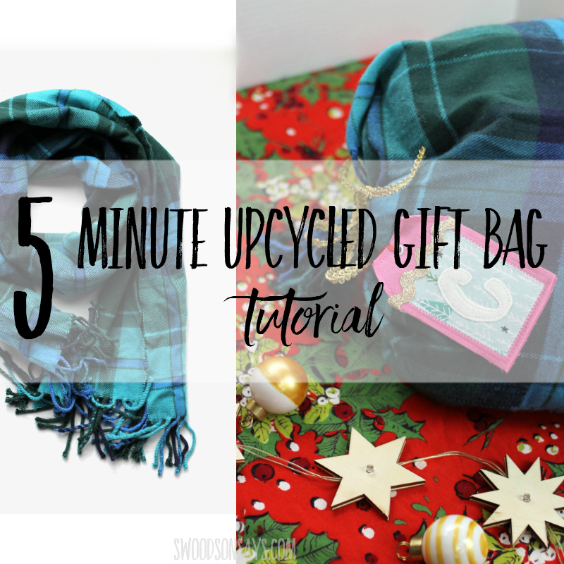 upcycled scarf gift bag sewing tutorial