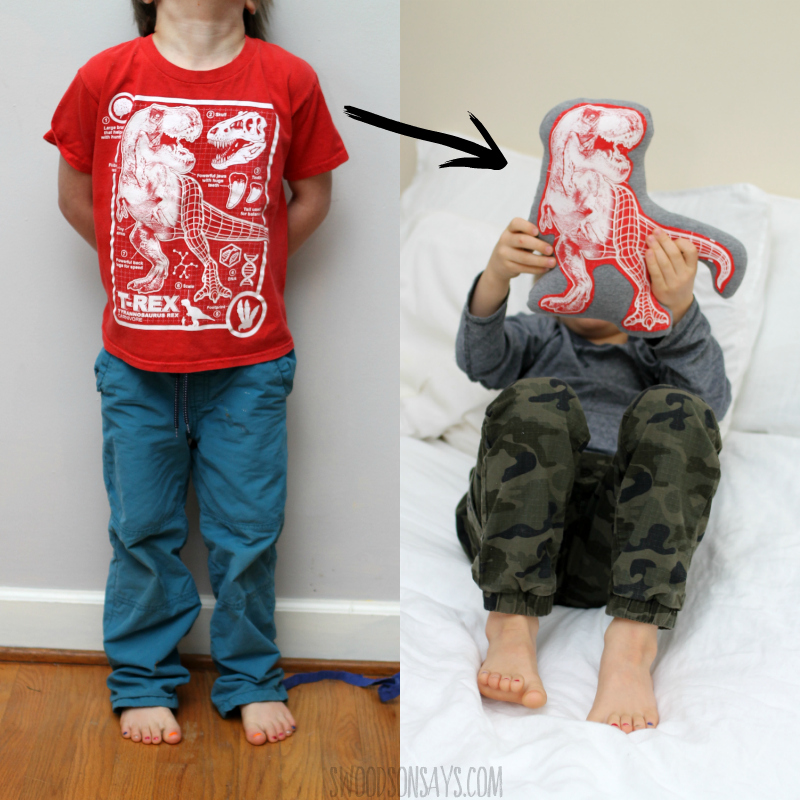 upcycled softie tutorial t rex from tshirt