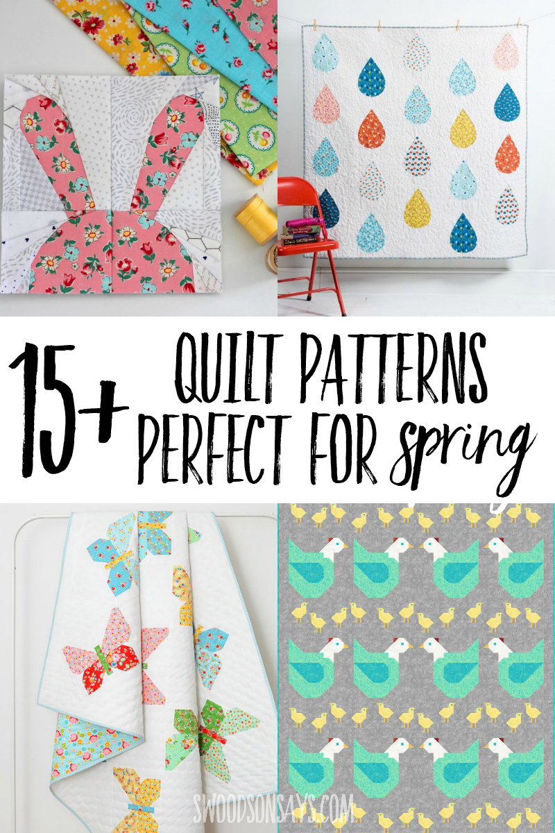 Check out this list of modern spring quilt patterns that are fun to sew! All different sizes and styles of quilt patterns with flowers, animals, and raindrops. #quilt #sewing #quiltpatterns