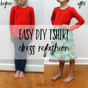 Easy diy tshirt dress refashion - how to attach a skirt to a t shirt