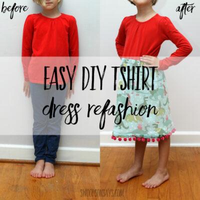 Easy diy tshirt dress refashion - how to attach a skirt to a t shirt