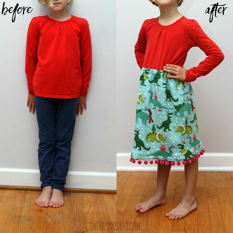before and after tshirt girls refashion