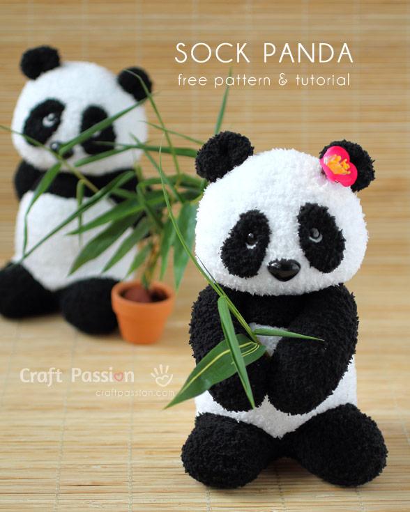 free sock panda pattern