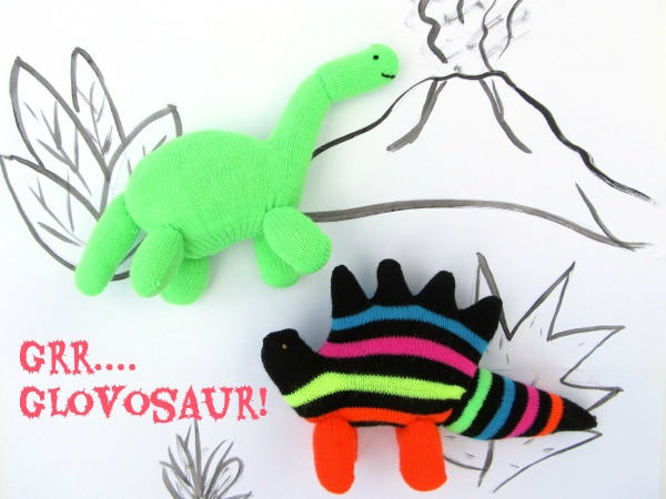 upcycled glove stuffed dinosaurs tutorial