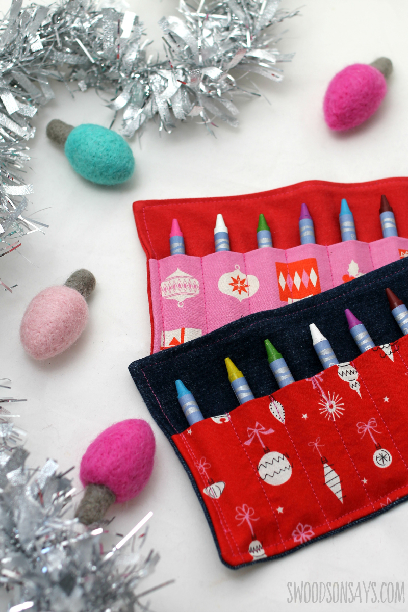 christmas present upcycle sewing tutorial crayon roll