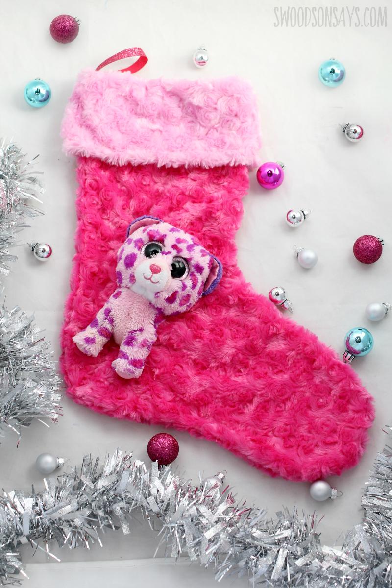 stuffed animal on a christmas stocking