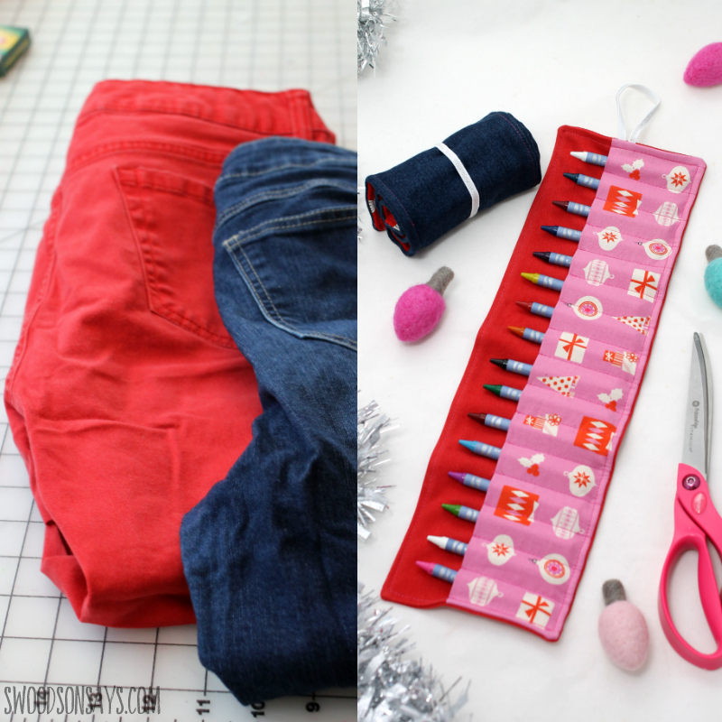 upcycled denim crayon roll tutorial