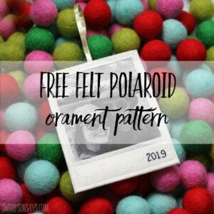Free felt polaroid ornament pattern