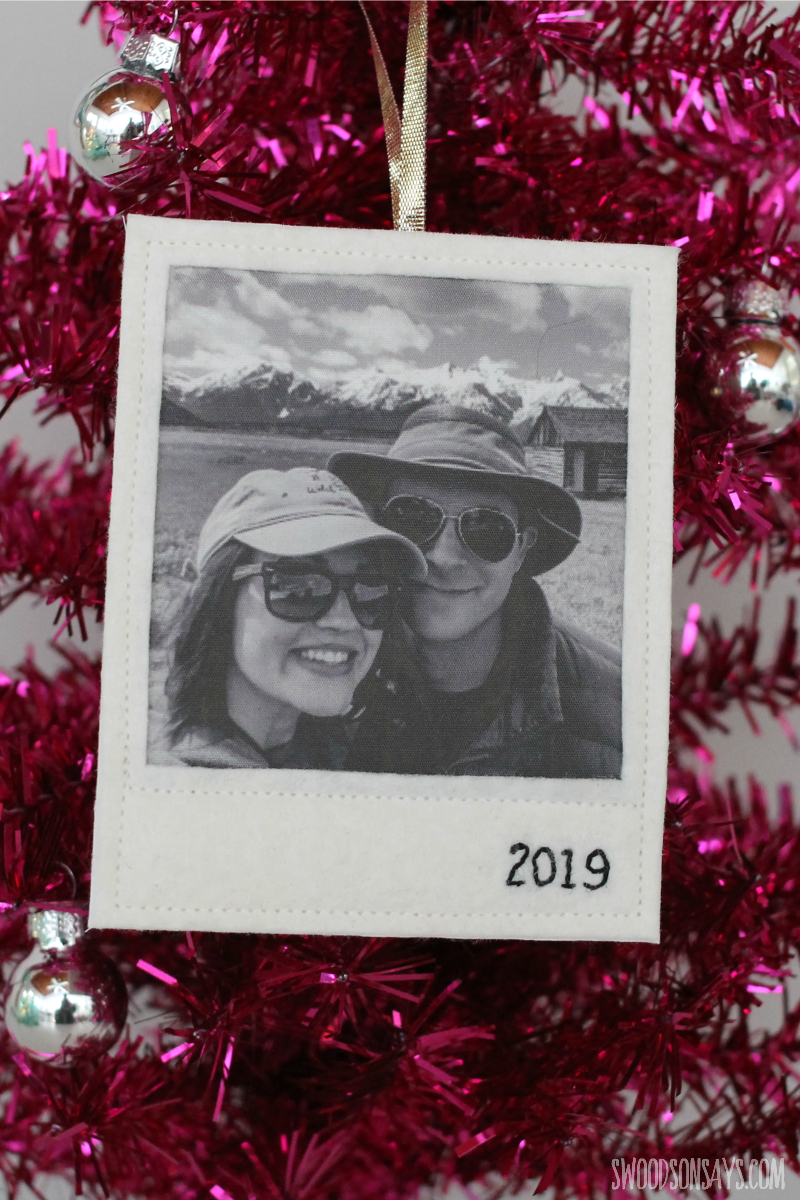 embroidered photo ornament diy
