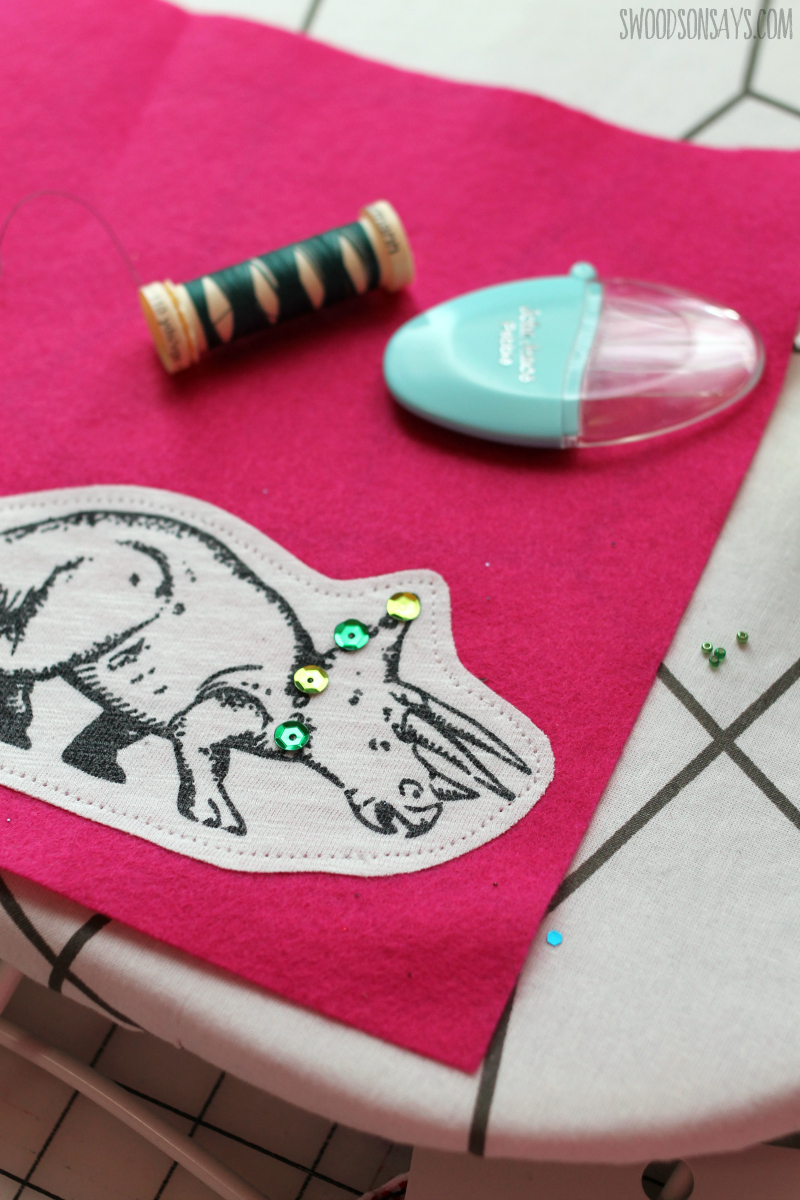 embroidered sequin dinosaur ornament diy