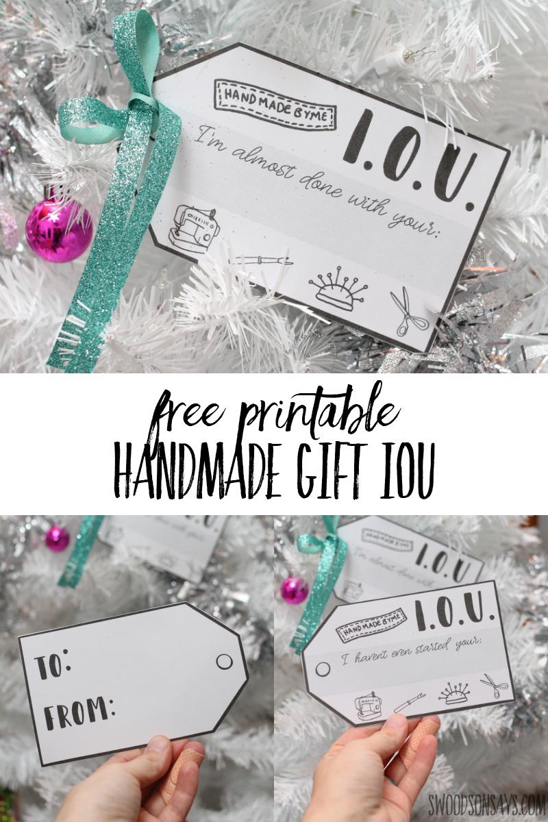 free printable handmade gift tag iou