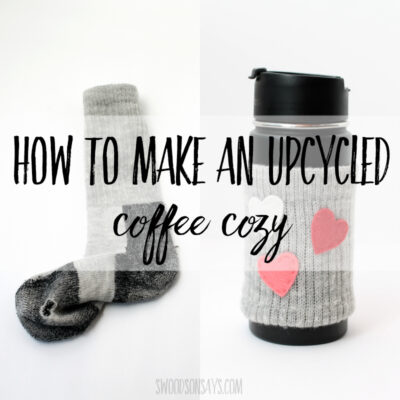 Turn socks with holes into a DIY upcycled coffee cozy