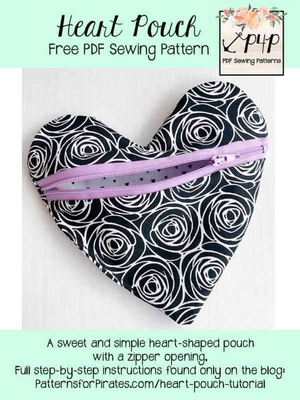 free heart pouch pattern