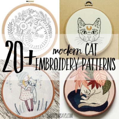 20+ modern cat embroidery patterns